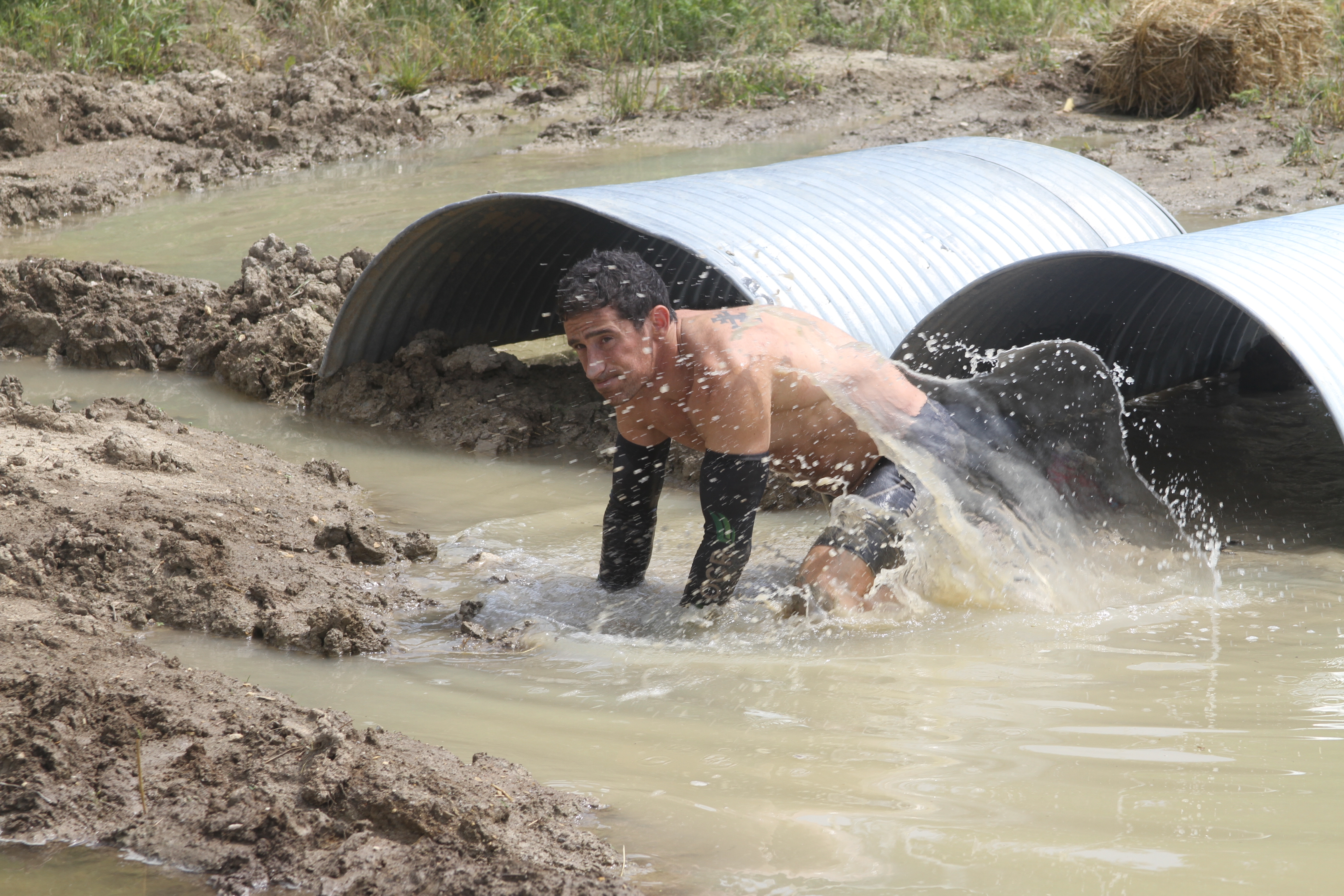 Evan emerges from a tunnel at Dirt Runner on Day 6.